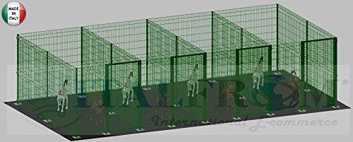 Clôture modulaire pour chiens en fer galvanisé et verni vert avec poteaux à soufflet – 200 x 400 x 192 cm (pour 4 boîtes)