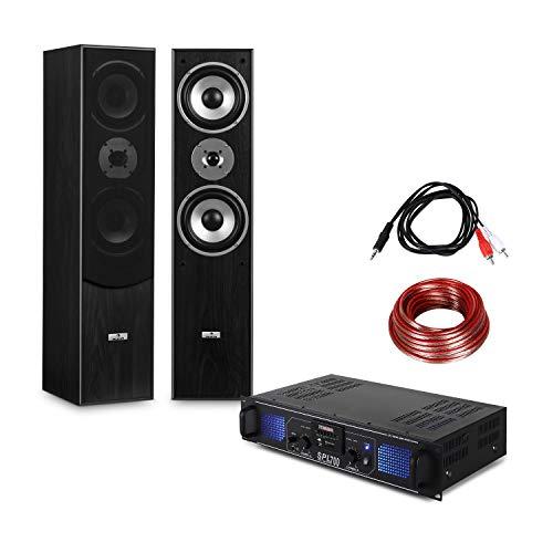 Electronic Star - Set HiFi Stereo avec ampli Home Cinema et Pack d'enceintes colonnes 3 Voies...
