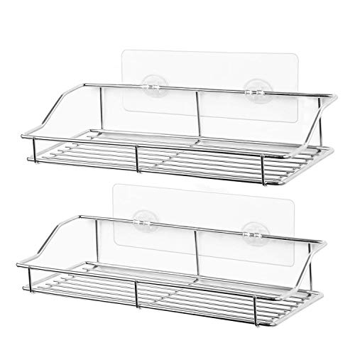 SMARTAKE 2Pack Shower Caddy Adhesive Bathroom Shelf Wall Mounted No Drilling Strong Shower Caddies Kitchen Racks  Stainless Steel Storage Organizers 99 Inches Silver