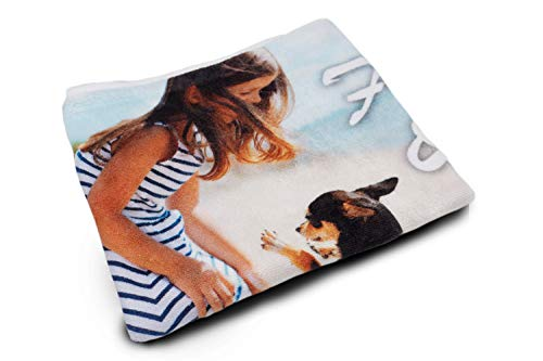 fatfoto Handtuch mit eigenem Foto und Text gestalten - bedrucktes Strandtuch - personalisiertes Fotogeschenk - Badetuch mit Foto (70 x 140 cm)