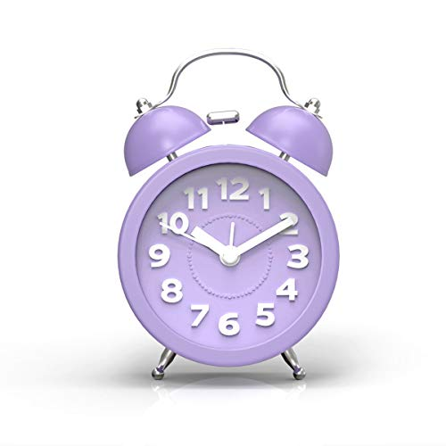 PiLife 3' Mini Non-ticking Vintage Classic Analog Alarm Clock for heavy sleepers with Backlight , Battery Operated Clock, Loud Twin Bell Alarm Clock for Kids(3D Purple)