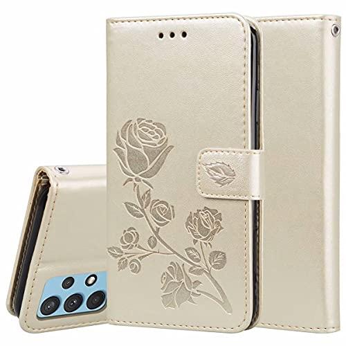 YIKLA Funda para Xiaomi Mi 11 Lite, PU/TPU Cuero Wallet Case, Diseño con Ranuras para Tarjetas, Cierre Magnético, Premium Flip Wallet Cover - Oro