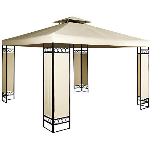 Deuba Pavillon Lorca 3x3m wasserabweisend UV-Schutz Metall Gestell 9m² Festzelt Partyzelt Gartenzelt Gartenpavillon Beige
