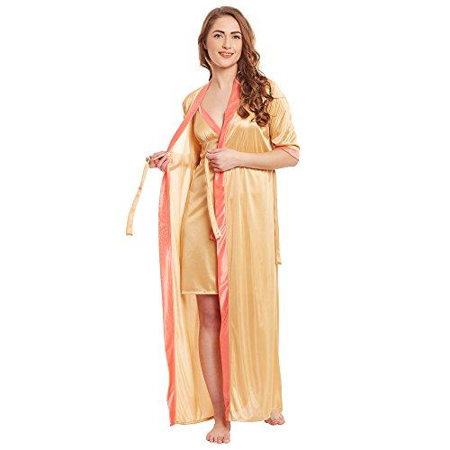 Claura Satin 2pc Stylish Nighty with Robe Gold