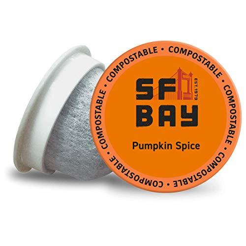 SF Bay Coffee Pumpkin Spice 12 Ct Flavored Medium Roast Compostable Coffee Pods, K Cup Compatible including Keurig 2.0