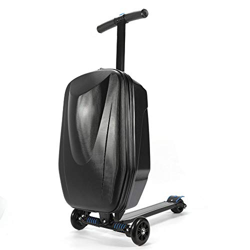 NOPTEG 20 inch Scooter Suitcase Ride-on Travel Trolley Luggage for Travel, School and Business (Black)