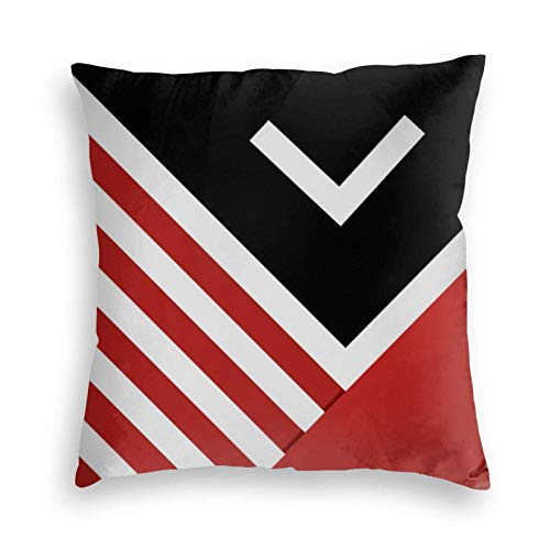 MayBlosom Modern Abstract Pillow Black Red White Gray Velvet Soft Cushion Covers Square Throw Pillowcases for Sofa Bedroom Car with Invisible Zipper 18x18 Inch