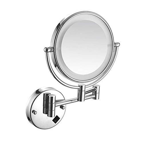 Espejo maquillaje Espejo afeitar para baño Montado en la pared Espejo maquillaje iluminado con LED 8 pulgadas Espejo tocador con aumento 5x Oculto Instalar Espejo tocador 360 ° Rotación libre Brazo