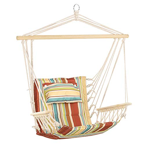 Outsunny Hanging Hammock Chair Swing Chair Thick Rope Frame Safe Wide Seat Indoor Outdoor Home, Patio, Yard, Garde Spot Stylish Multi-Color Stripe