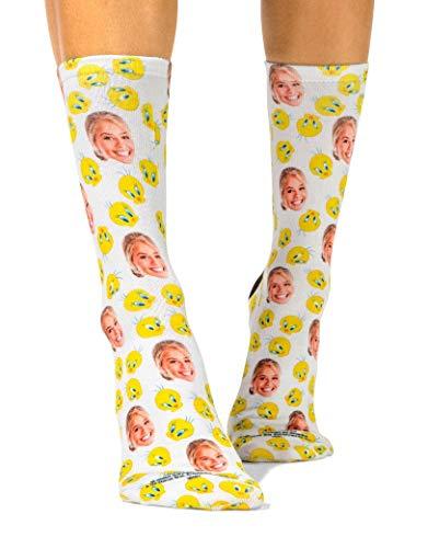 Super Socks Looney Tunes Socken, personalisierbar, Tweety Bird Print, Foto-Socken, weiches Polycotton, Geschenk für Damen und Herren – fügen Sie Ihr Foto hinzu Gr. 37/40 EU, weiß
