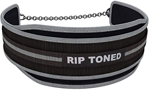 Rip Toned Dip Belt with Chain - 36' Heavy Duty Steel Chain - for Weightlifting Pull Ups, Dips, Powerlifting, Xfit, Bodybuilding, Strength Training - Add More Weight While Lifting for Men & Women