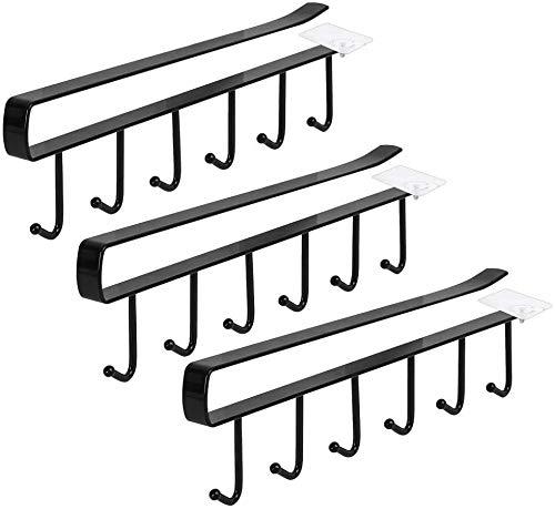 3 soportes para tazas, armarios sin taladrar, ganchos de almacenamiento, ganchos para tazas, copas de vino, utensilios de cocina, con tornillos autoadhesivos, color negro