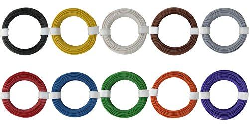 Kupferschalt Litze 10 Ringe alle Farben 0,14 mm² je Farbe ein 10 Meter Ring