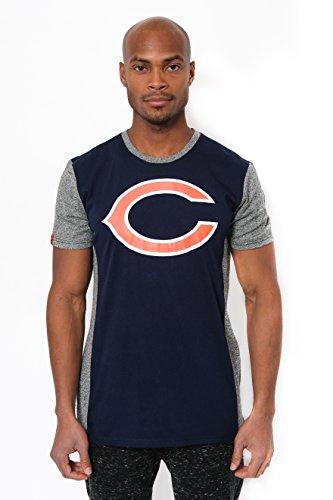 Ultra Game NFL Chicago Bears Mens T-Shirt Raglan Block Short Sleeve Tee Shirt, Team Color, X-Large