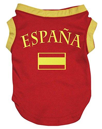 Petitebelle Camiseta de perro rojo con la bandera de España (pequeña), color rojo
