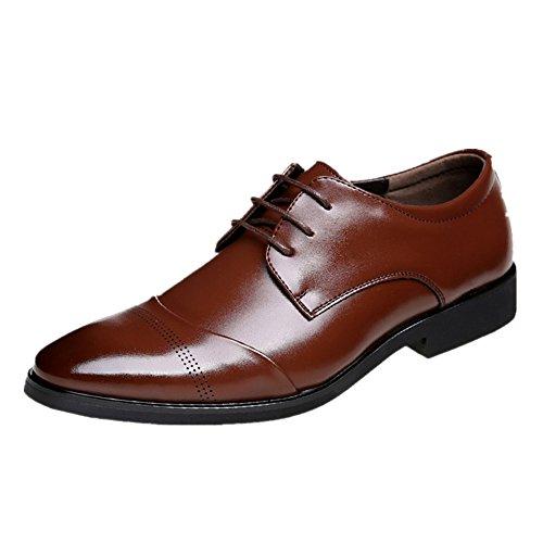 JOYTO Zapatos Oxford Hombre, Cuero Marron