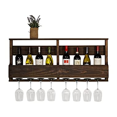 del Hutson Designs - The Original Wine Rack, USA Handmade Reclaimed Wood, Wall Mounted, 8 Bottle 8 Long Stem Glass Holder & Shelf (Dark Walnut)