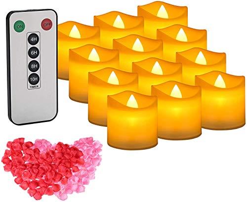 LED Teelichter 12 Stück Kerzen mit Fernbedienung und Timer flackernde elektrische Teelichter mit 100 Rosenblättern, warmgelb