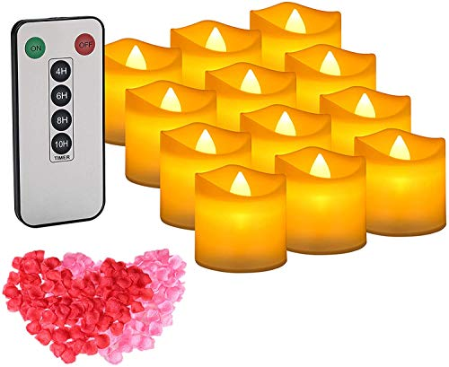 LED Tealight 12 PCS Candle Lights Remote Control Flickering Tea Lights with Timer Battery Operated LED Candles with Rose Petals, Amber Yellow