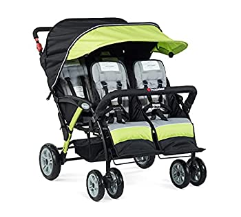 Foundations Quad Sport 4-Passenger Folding Stroller with Canopy 5-Point Harness Foot-Brake  Lime