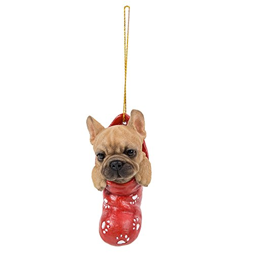 Pacific Giftware French Bulldog in Holiday Sock Decorative Holiday Festive Christmas Hanging Ornament