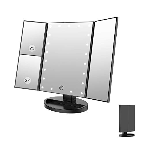 fang zhou Trifold LED Lights Makeup Vanity Mirror with 3x/2x Magnification, Touch Screen, 180° Adjustable Rotation, Dual Power Supply, USB or Battery Powered, Best Gift