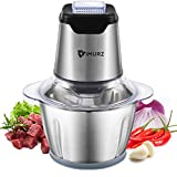 Food Chopper 600W,Eletric Food Processor 1.2L,4 Sharp Blades,Stainless Steel Meat Grinder for Meat