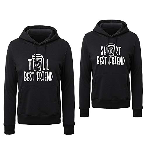 Soul Couple BFF Hoodie for 2 Girls Best Friends Hoodies for 2 Girls Black White Grey Cotton