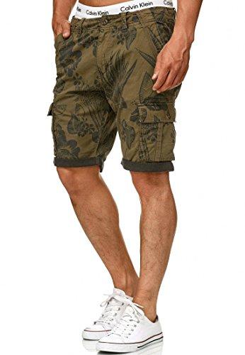 Indicode Herren Albert Cargo Shorts Hawaii mit 6 Taschen aus 100% Baumwolle | Kurze Hose Regular Fit Bermuda Cargoshorts Herrenshorts Short Men Pants Cargohose kurz für Männer Army XL