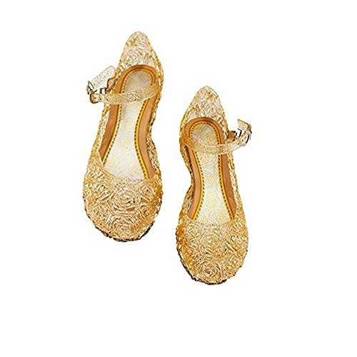 Qinyue.JF Girls Princess Jelly Sandals Girls Soft Crystal Plastic Sandals Cosplay Jelly Shoes for Kids Toddler Mary Janes Gold
