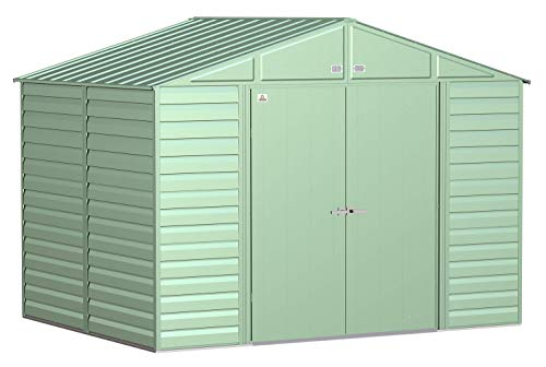 Arrow Shed Select 10' x 8' Outdoor Lockable Steel Storage Shed Building, Sage Green