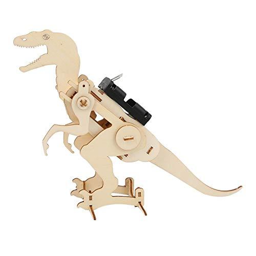 Tnfeeon DIY ensambla Dinosaurio eléctrico, Juguete de Dinosaurio robótico 3D de Madera Tecnología Creativa Pequeña producción Regalo Educativo temprano de Vacaciones para Niños