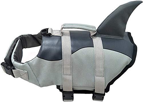 Chalecos salvavidas para perros, chalecos salvavidas reflectantes para mascotas Chaleco de flotación con forma de tiburón Protector de traje de baño de seguridad con rayas reflectantes / correas d