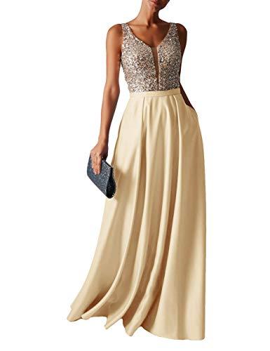 HUINI Abendkleid Lang Damen Ballkleider Hochzeitskleid Vintage Glitzer Cocktail Partykleider Brautkleider Champagne 56