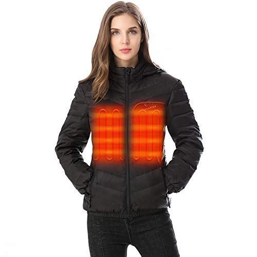 Venustas Women's Down Heated Jacket with Battery Pack 7.4V and Detachable Hood,90% White Duck Down