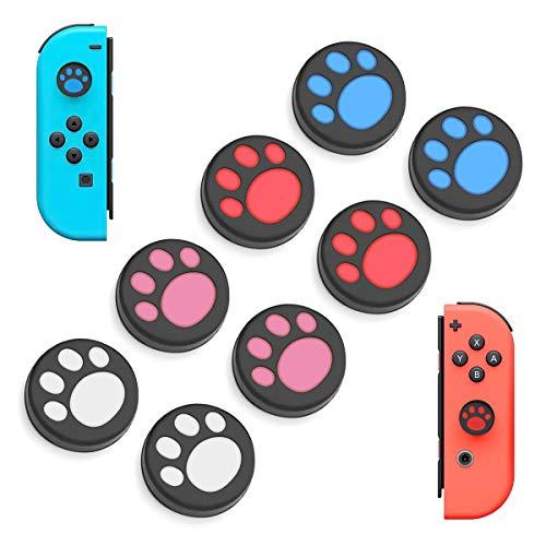 6amLifestyle 4Paar 8pcs Silikon Cat Claw Joystick Caps Thumb Grip Griffe Kappenabdeckung Schutzkappen Für Nintendo Switch & Lite Joy-Con Controller