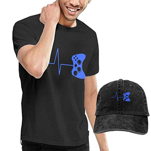 Preisvergleich Produktbild LYZBB Herren Kurzarmshirt Heartbeat of A Gamer Adult Round Neck Short Sleeve T-Shirts Black and Adjustable Cowboy Hat