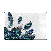花柄 鳥 幸運な孔雀の羽 フロアマットウォッシャブルフランネルフロアマット耐久性があり、快適でふわふわ 充填ポリウレタンフォーム サイズ60 * 39in