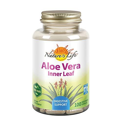 Nature's Life Aloe Vera Inner Leaf | Skin Health, Digestive Support & Regularity Formula | with Fennel | Non-GMO & Vegan | No Fillers | 100 Veg Caps