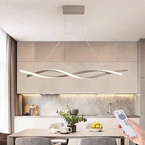 AXFALO Moderne Esstisch Pendelleuchte LED Dimmbar Hängelampe Höhenverstellbarer Kronleuchter mit Fernbedienung Wohnzimmer Lampe Küche Esszimmer Hängeleuchte Grau Dekor Deckenleuchte(120cm/48