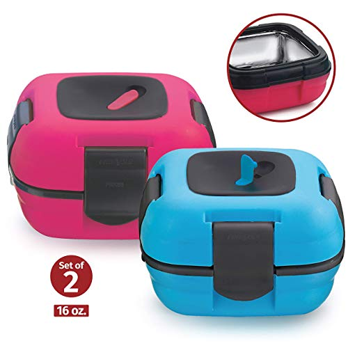 Lunch Box ~ Pinnacle Insulated Leak Proof Lunch Box for Adults and Kids - Thermal Lunch Container With NEW Heat Release Valve 16 oz ~Set of 2~ (Blue-Pink)