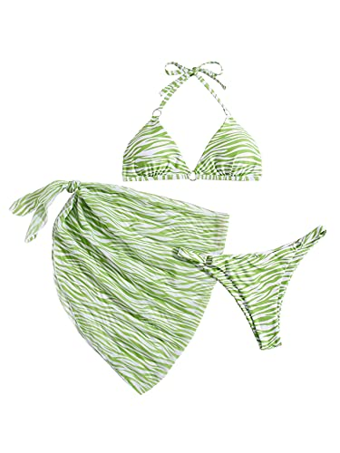 SOLY HUX Women's Halter Triangle Bikini Bathing Suits with Beach Skirt 3 Piece Swimsuits Green XS