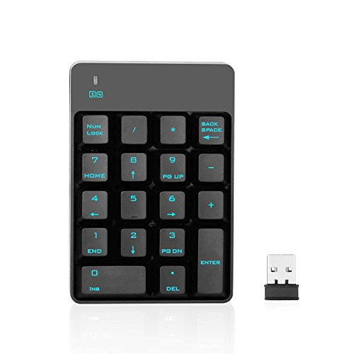 Jelly Comb 2.4G Number Pad, 18 Keys Wireless Silent Numeric Keypad with Mini USB Receiver, for Laptop/Notebook, Compatible with Windows System