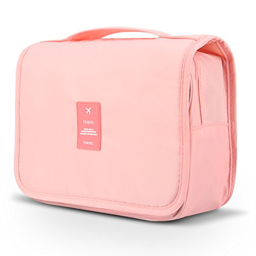 Hanging Travel Organizer,Mossio Foldable Cosmetic Pouch Bag Purse for Overnight Trip Light Pink