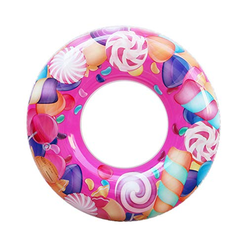 ZaH Swim Rings for Kids Adults Pool Swimming Ring Inflatable Float Raft Water Swim Tube Summer Beach Party Decoration (35 inch, Pink Lollipop)