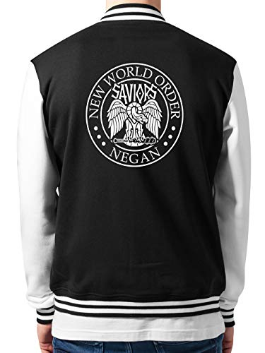 clothinx TWD - Negan New World Order | Neue Welt Ordnung - Horror Serien Design College-Jacke Unisex Schwarz/Weiß Gr. S