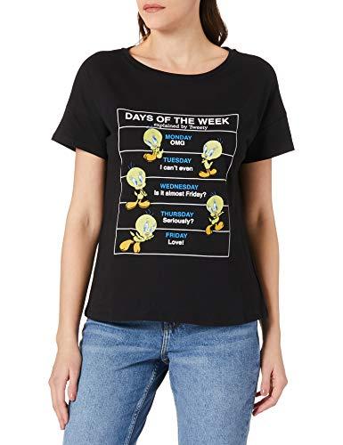 Springfield Camiseta Days of The Week Piolín, Negro, XL para Mujer