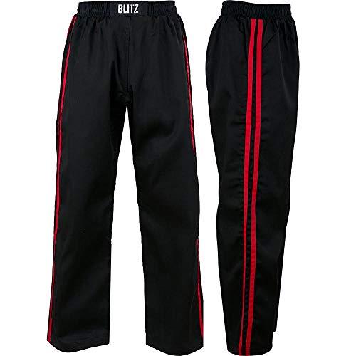 Blitz Classic Poly katoen volledig contact broek - zwart/rood, 8/210 cm