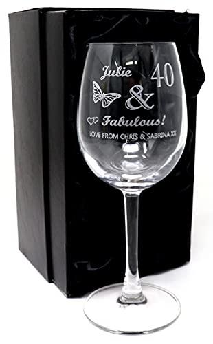 Copa de vino de cristal de reserva personalizada, diseño fabuloso de cumpleaños (caja de regalo con forro de seda)