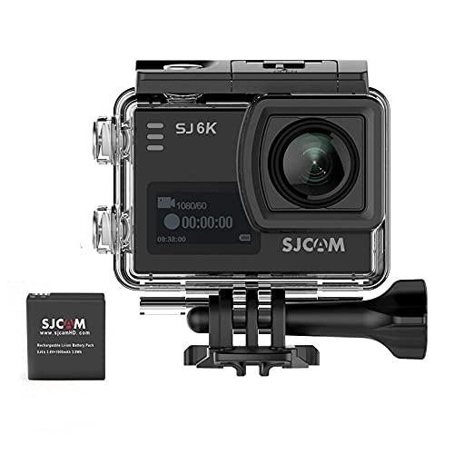 SJCAM SJ6K 4K WiFi Action Camera Waterproof Dual Screen Sport Camera Underwater 2.0 Touchscreen/ 0.9 Front LCD Screen Wide Angel Gyro Stabilization Black